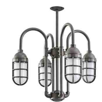 Saturn-Vega 4-Light Chandelier, 600-Bronze, TGG-Heavy Duty Cast Guard, FST-Frosted Glass