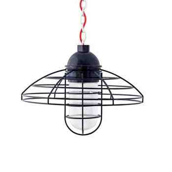 """16"""" Blue Collar LED, 705-Navy, RIB-Ribbed Glass, Chain in 200-White, CSR-Red Cloth Cord"""