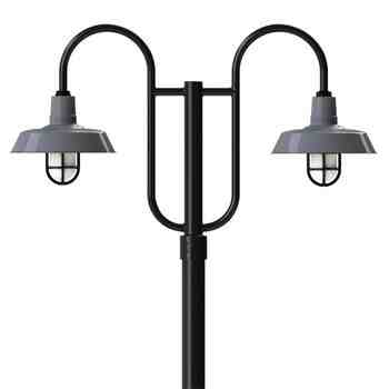 "14"" The Original™, 850-Porcelain Graphite, Standard Cast Guard & Frosted Glass, 150-Black, Double Decorative Post Mount, 100-Black, Smooth Direct Burial Pole, 100-Black"
