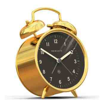 The Charlie Bell Alarm Clock, Radial Brass, Side View