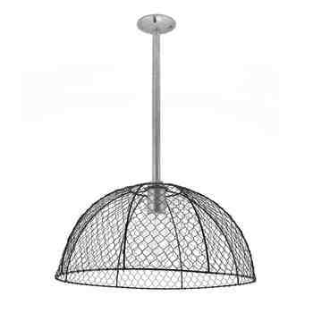Chicken Wire Stem Mount Pendant Light, 100-Black, Mounting in 975-Galvanized, Nostalgic Edison-Style 1890 Era Bulb