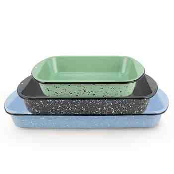 Set of 3 Graniteware Baking Pans | 2-Quart: 365-Jadite with Black Speckle, 3-Quart: 860-Graphite with White Speckle, 4-Quart: 766-Delphite with White Speckle