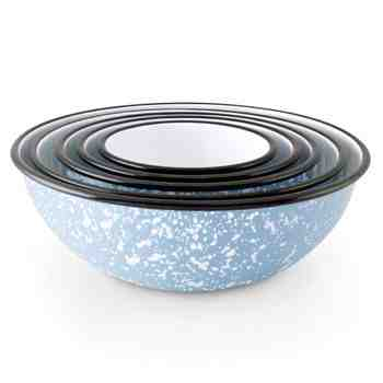Enamelware Mixing Bowls, 766-Delphite with White Speckles