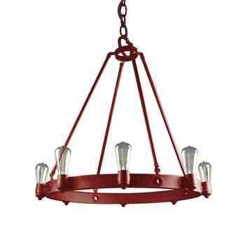 Maven Stem Chandelier, 400-Barn Red, SBK-Standard Black Cord, Shown with Nostalgic Edison-Style 1890 Era 40 Watt Light Bulbs