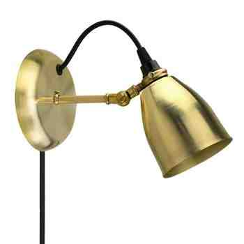Lovell Plug-In Wall Sconce, 997-Natural Raw Brass, Raw Brass Arm, SBK-Standard Black Cord