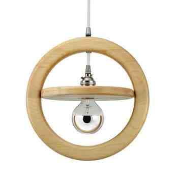 Arcadia Wooden Ring Pendant, Maple Wood, Nickel Socket, SBK-Standard Black Cord, Shown with G25 Half-Chrome Bulb