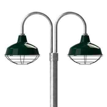 "14"" Avalon LED, 350-Porcelain Vintage Green, Wire Cage, 310-Vintage Green, Double Post Mount, 975-Galvanized, Smooth Direct Burial Pole, 975-Galvanized"