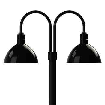 "14"" Wilcox LED, 100-Black, Double Post Mount, 100-Black, Smooth Direct Burial Pole, 100-Black"