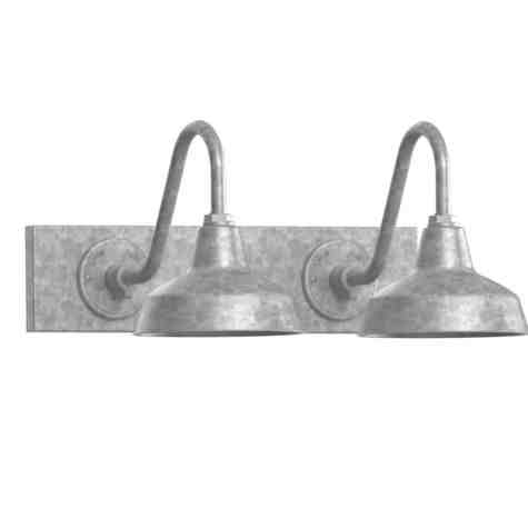 "Austin Gooseneck Double Vanity Light, 10"" Shades, 975-Galvanized"