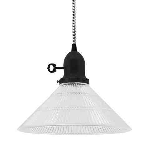 Homestead Pendant, Clear Ribbed Glass, Cup in 100-Black, No Arms, Turn Key Switch, CSBW-Black & White Cloth Cord