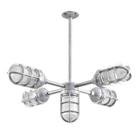 Apollo 5-Light Chandelier, 975-Galvanized, TGG-Heavy Duty Cast Guard, RIB-Ribbed Glass