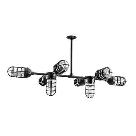 Mercury 8-Light Chandelier, 100-Black, CGG-Standard Cast Guard, CLR-Clear Glass