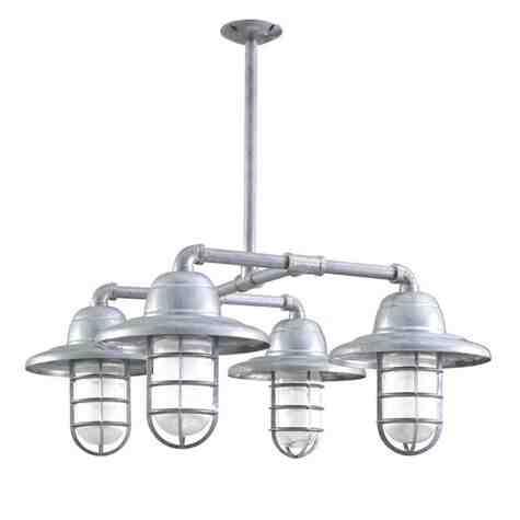 Foundry 4-Light Chandelier, 975-Galvanized, Warehouse Shade, CGG-Standard Cast Guard, RIB-Ribbed Glass