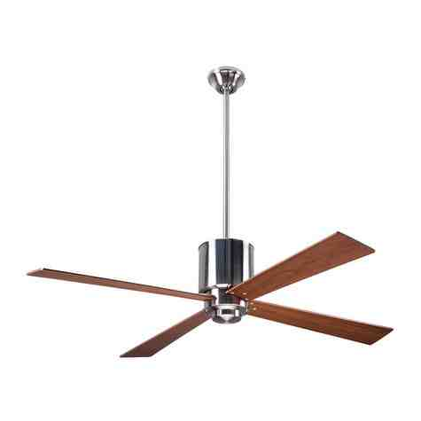 Lapa Ceiling Fan, Bright Nickel, Mahogany Blades