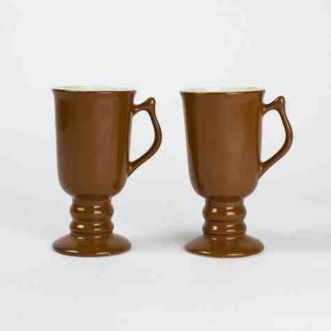 Vintage Hall Brown Ceramic Pedestal Mugs