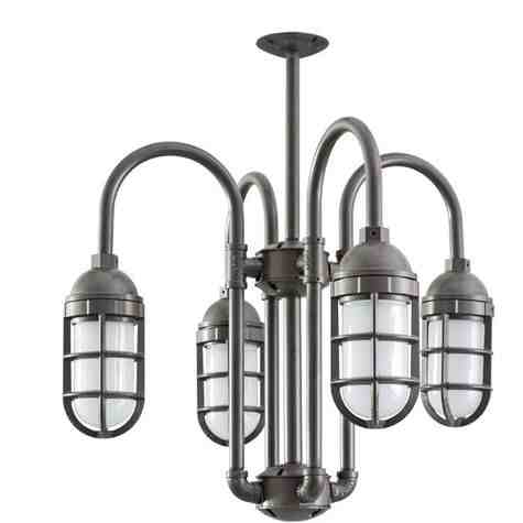 Saturn-Vega LED 4-Light Chandelier, 600-Bronze, TGG-Heavy Duty Cast Guard, FST-Frosted Glass