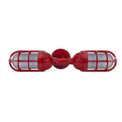 Atomic Topless Double Industrial Guard Sconce, 400-Barn Red, TGG-Heavy Duty Cast Guard, SMK-Smoke Crackle Glass