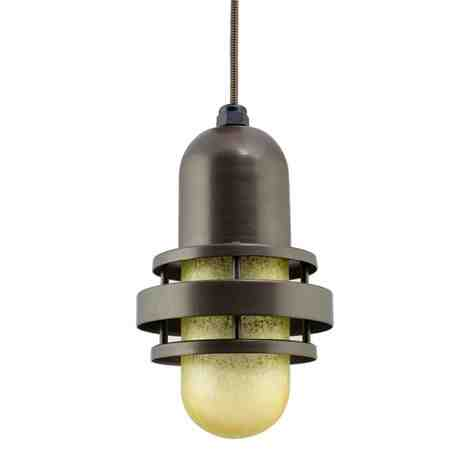 Brewster LED Pendant Light, 600-Bronze, HCR-Honey Crackle Glass, CSBB-Black & Brown Cloth Cord