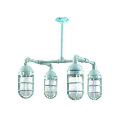 Foundry LED 4-Light Chandelier, 311-Jadite PTMP, No Shade, TGG-Heavy Duty Cast Guard, RIB-Ribbed Glass