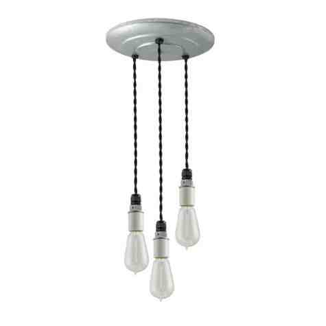 3-Light Indy Porcelain Socket Chandelier, Galvanized Canopy, TBK-Black Cotton Twist Cord, 1890 Era 40w Edison Bulbs