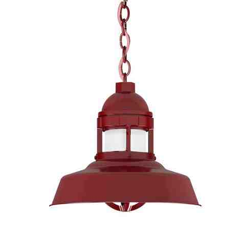 """12"""" Sydney LED Chain Hung, 400-Barn Red, CRZ-Red Chevron Cord, FST-Frosted Glass"""