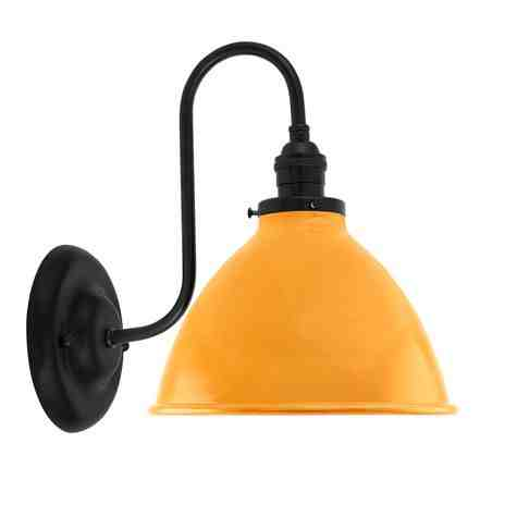 """8"""" Gladstone Dome Shade Sconce, 570-Sunflower, Mounting in 100-Black, No Switch"""