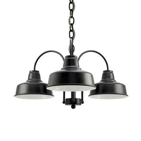 Calico 3-Light Chandelier, 100-Black, CSBB-Black & Brown Cloth Cord