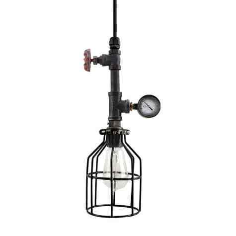 Verne Machine Age Pendant, Wire Cage, Edison Style 1890 Era Bulb