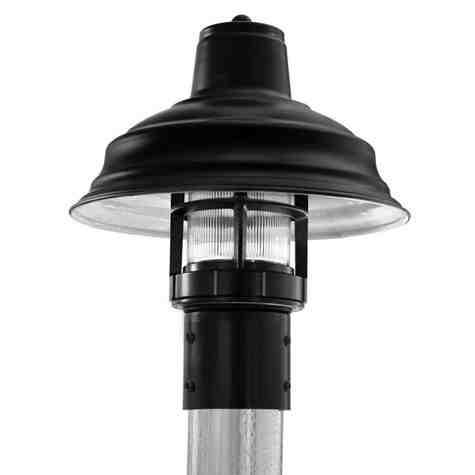 "13"" Bomber LED Industrial Guard Post Mount, 100-Black, RIB-Ribbed Glass"