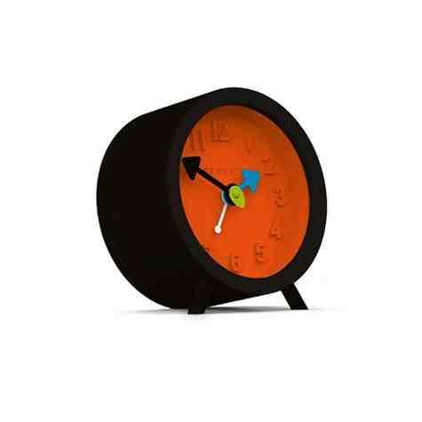 Fred Alarm Clock, Cave Black & Pumpkin Orange
