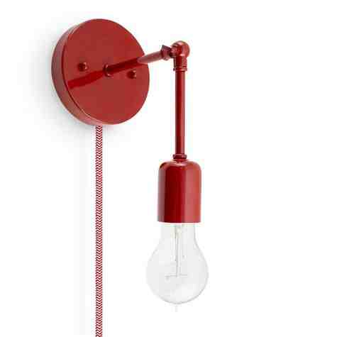 Downtown Minimalist Knuckled Plug-In Sconce, 400-Barn Red, CRZ-Red Chevron Cord, Nostalgic Edison-Style Victorian 25W Bulb