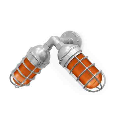 Atomic Topless Dual Sconce, 975-Galvanized, AMB-Amber Glass, TGG-Heavy Duty Cast Guard