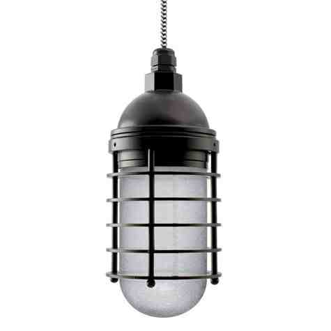 Static Ring LED Pendant, 100-Black, SMK-Smoke Crackle Glass, CSBW-Black & White Cloth Cord