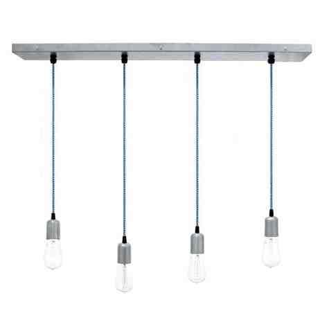 Downtown 4-Light Pendant Chandelier, 975-Galvanized, CSUW-Blue & White Cloth Cord, Edison-Style 1890 Era Bulbs