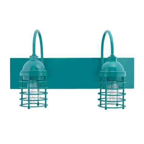 Static Ring Double Vanity Light, Gooseneck Mounting, 390-Teal, Nostalgic Edison 1890 Era Bulbs