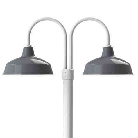 """16"""" Avalon, 850-Porcelain Graphite, Double Post Mount, 200-White, Smooth Direct Burial Pole, 200-White"""