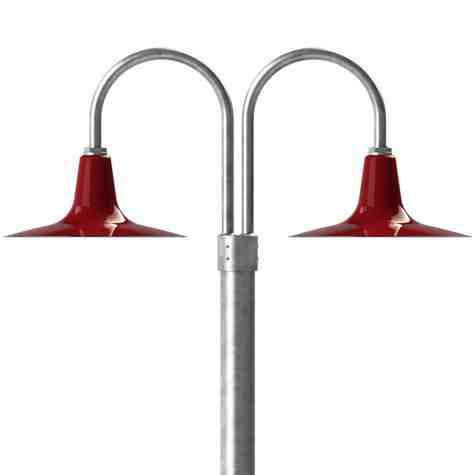 """16"""" Sterling, 455-Porcelain Cherry Red, Double Post Mount, 975-Galvanized, Smooth Direct Burial Pole, 975-Galvanized"""