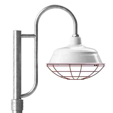 "17"" Bomber Post Mount Light, 250-Porcelain White, Single Decorative Post Mount Option in 975-Galvanized, Wire Cage in 411-Cherry Red, Smooth Direct Burial Pole in 975-Galvanized"
