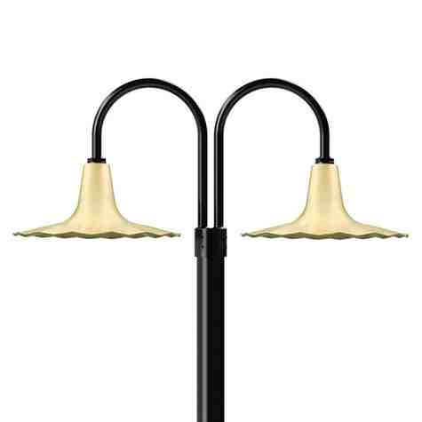 """16"""" Seaside, 997-Natural Raw Brass, Double Post Mount, 100-Black, Smooth Direct Burial Pole, 100-Black"""