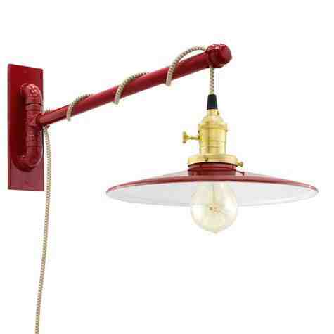 Conoco Swing Arm Sconce, 400-Barn Red, Brass Socket with Knob Switch, Arm in 400-Barn Red, CSGW-Gold & White Cloth Cord, Nostalgic Edison-Style 40W Victorian Bulb