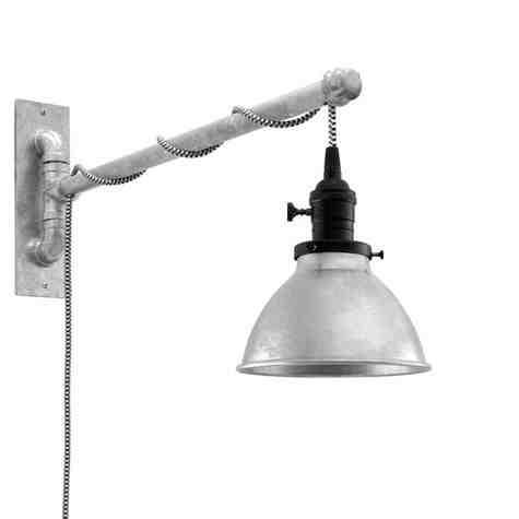 "6"" Gladstone Swing Arm Sconce, 975-Galvanized, Black Socket with Knob Switch, Arm in 975-Galvanized, CSBW-Black & White Cloth Cord"
