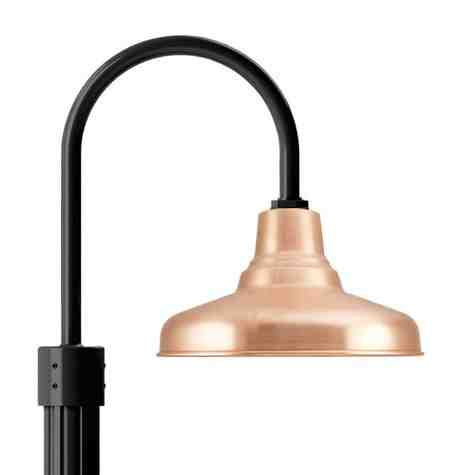 """14"""" Union, 995-Natural Raw Copper, Single Post Mount, 100-Black, Fluted Direct Burial Pole, 100-Black"""