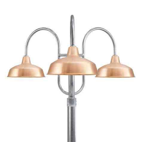 "16"" Avalon, 995-Natural Raw Copper, Decorative Triple Post, 975-Galvanized, Smooth Direct Burial Pole, 975-Galvanized"