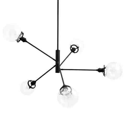 Bubble 5-Light Chandelier, 100-Black, Clear Globes