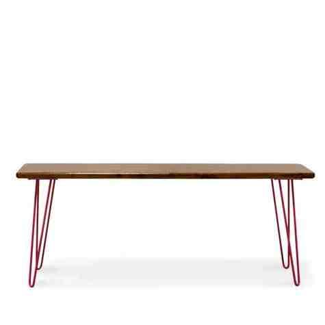 Vivianne Bench, No Backrest, NW-Natural Walnut, 400-Barn Red