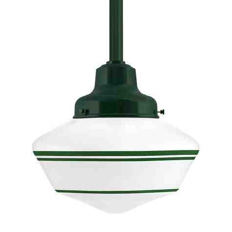 Primary Schoolhouse LED, 300-Dark Green, Large Glass, Triple Painted Band, 307-Emerald Green