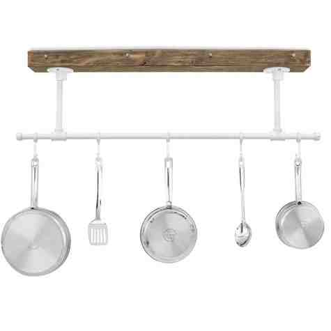 "Julia Hanging Pot Rack, DP-Distressed Pine, 200-White, 5 Hooks, 12"" Stems"