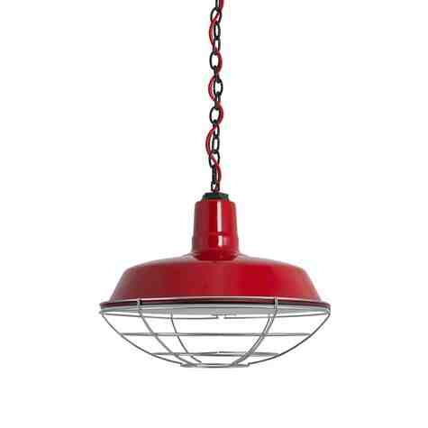 """16"""" The Original™ Chain Hung, 455-Porcelain Cherry Red, Wire Cage, 975-Galvanized, Mounting in 150-Black, CSR-Red Cloth Cord"""