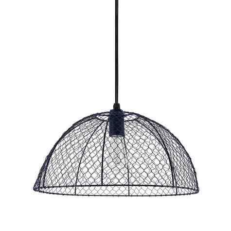 Chicken Wire Pendant Light, 705-Navy, SBK-Standard Black Cord, Nostalgic Edison-Style 1890 Era Bulb