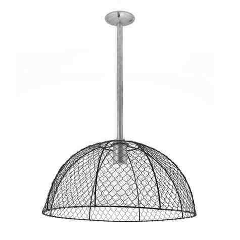 Chicken Wire Stem Mount Pendant Light, 100-Black, Mounting in 975-Galvanized, Nostalgic Edison-Style 1890 Era Bulb